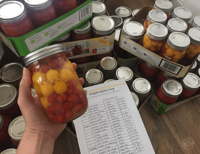 September 2019: Hand holding jar of canned tomatoes